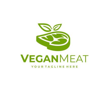 Vegetarian meat logo design. Vegan steak with leaves vector design. Plant based meat logotype