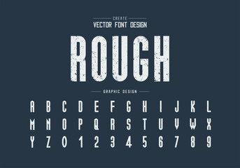 Texture font and alphabet vector, Rough tall typeface letter and number design