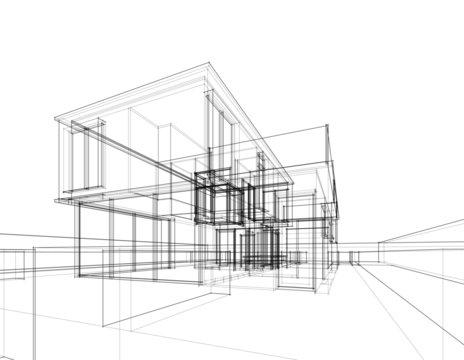 House building architecture concept sketch 3d