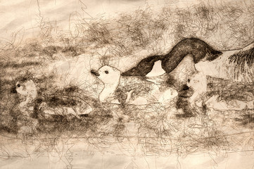 Fototapete - Sketch of Newborn Goslings Learning to Swim Under the Watchful Eye of Mother
