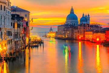Poster Venetie Sunset on Grand Canal and Basilica of Santa Maria della Salute, Venice, Italy