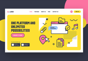 Yellow and White Website Landing Page Layout with Pink Accents