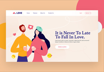 Website Landing Page Layout with Dating Themed Illustrations