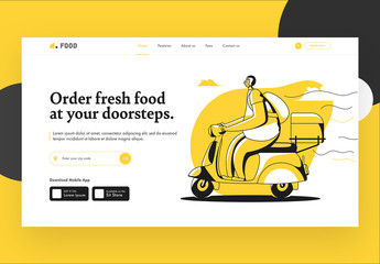 Wewbsite Landing Page Layout with Delivery Themed Illustrations