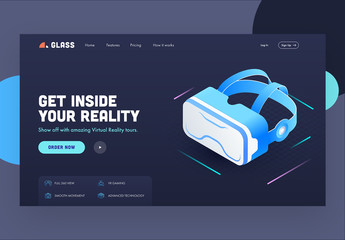 Dark Blue Website Landing Page Layout with Vr Headset Illustration