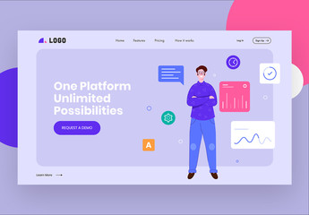 Website Landing Page Layout with Character Illustration and Assorted Icons