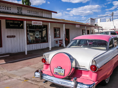 Williams, Arizona, United States - June 14, 2007: Pink cadillac car in historic Williams town by Route 66