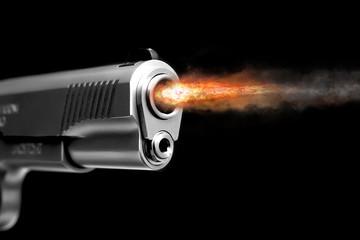 A fire from the gun after the shot. Gunshot