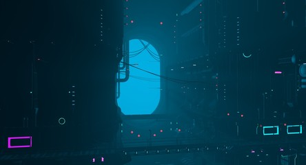 Fotomurales - Futuristic city in a blue haze. Neon cyberpunk future. 3D illustration. Night scene with multicolored neon lighting. Gloomy industrial landscape.