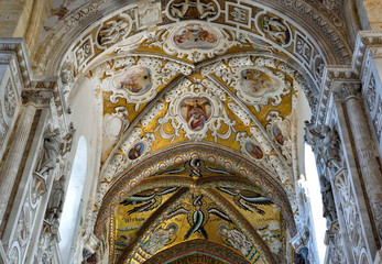 interior Basilica Cathedral of the Transfiguration in the Byzantine Arab-Norman style Cefalu Italy