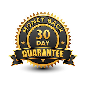 Secured 30 day money back guarantee golden badge. Isolated on white background.