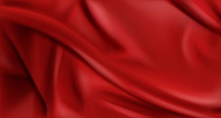 Red silk folded fabric background, luxurious textile decoration backdrop for poster, banner or cover design. Scarlet drapery material with soft satin waves, poster, 3d vector realistic illustration