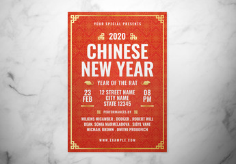 Red Chinese New Year Event Flyer Layout with Gold Accents