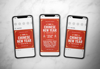 Red Chinese New Year Social Media Post Layout Set with Gold Accents