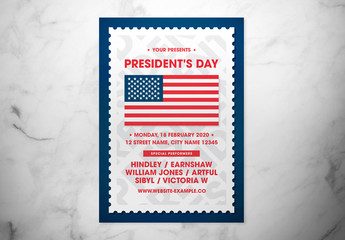 President's Day Event Flyer with Flag Illustration