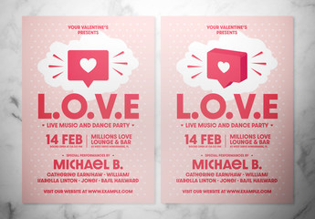 "Pink and White Valentine's Day Flyer Layout with ""Like"" Icon Illustrations"