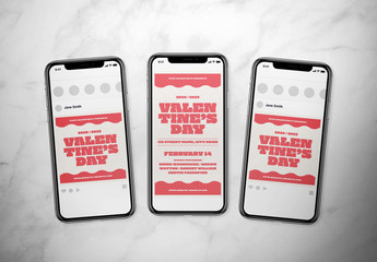 Pink and White Valentine's Day Social Media Post Layout Set