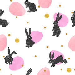 Seamless Easter pattern with cute bunny silhouettes and watercolor eggs.