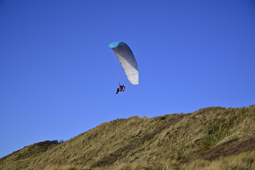 Parapente on the beach in Zoutelande,, The Netherlands
