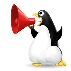 Fototapete - pinguino con megafono