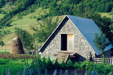 Albanian barn in mountain. Picturesque view. Selective focus