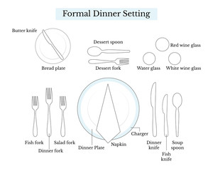Table layout for a formal dinner setting, vector illustration