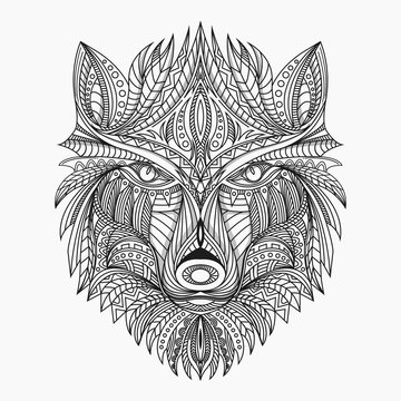 line art wolf  in ethnic vector illustration