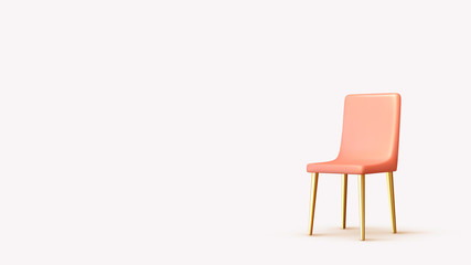 Realistic 3d chair isolated with shadow. Vector illustration