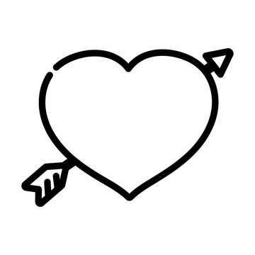 happy valentines day, cute heart pierced arrow romantic thick line