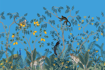 Vintage chinoiserie fruit tree, plant, bird, leopard, peacock seamless border blue background. Exotic oriental wallpaper.