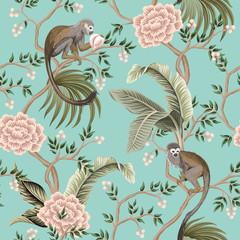 Vintage garden tree, rose flower, monkey animal, banana leaves floral seamless pattern turquoise background. Exotic chinoiserie wallpaper. - 317094999