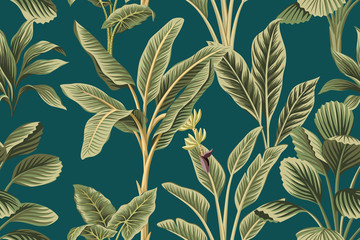 Tropical vintage botanical palm trees, banana tree and plants floral seamless pattern green background. Exotic jungle wallpaper.