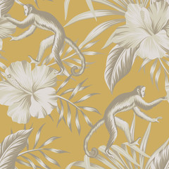 Tropical vintage beige monkey, hibiscus flower, palm leaves floral seamless pattern yellow background. Exotic jungle wallpaper.