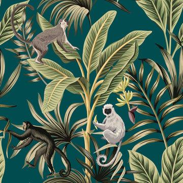 Tropical vintage banana trees, plants, palm leaves, lemur, monkey floral seamless pattern green background. Exotic jungle wallpaper.