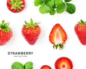 Strawberry fruits creative composition