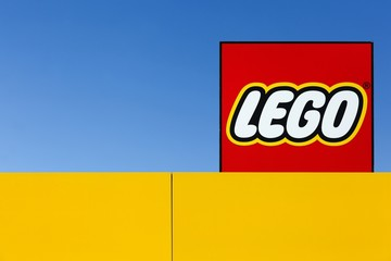 Billund, Denmark - May 14, 2016: Lego sign. Lego is a line of plastic construction toys that are manufactured by the Lego Group, a privately held company based in Billund, Denmark