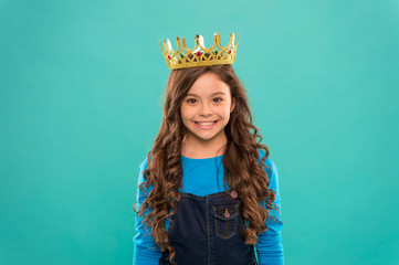 Papiers peints Salon de coiffure Gorgeous hair award. Kid wear golden crown symbol of princess. Girl cute baby wear crown blue background. Princess concept. Every girl dreaming to be princess. Little princess. Curly hairstyle