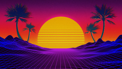 Retrowave, synthwave or vaporwave 80's landscape with neon light grid, sun and palm trees. Sci-fi, futuristic illustration with copy space for text.