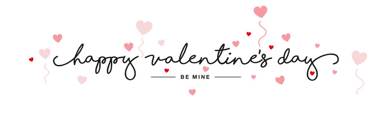 Happy Valentine's Day handwritten typography lettering red pink hearts white banner