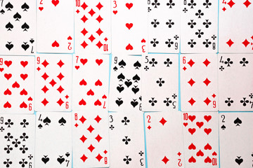 Deck of playing cards on blue background. Gambling concept