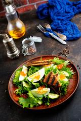 salad with salmon caviar