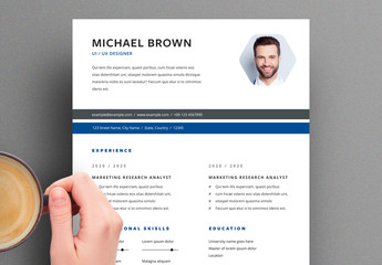 Resume Layout with Blue and Gray Header Elements