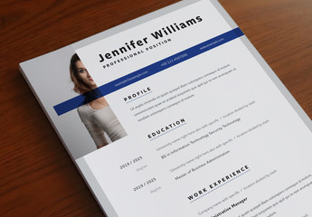 Resume Layout with Dark Blue Header Overlay and Accents