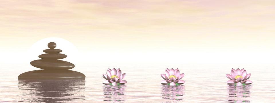 Balancing zen stones pebbles and lotus flowers upon the ocean - 3D render