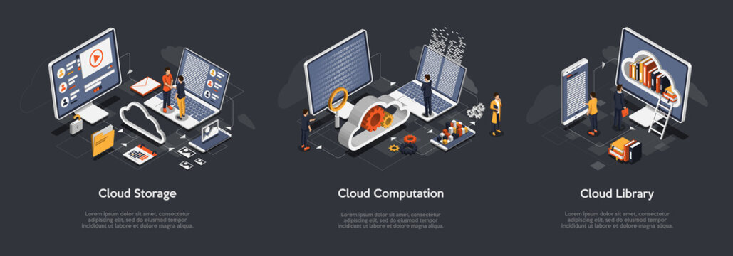 Isometric Set of Cloud Storage, Cloud Computation, Cloud Library. Professional VIP Isometric Vector Illustration