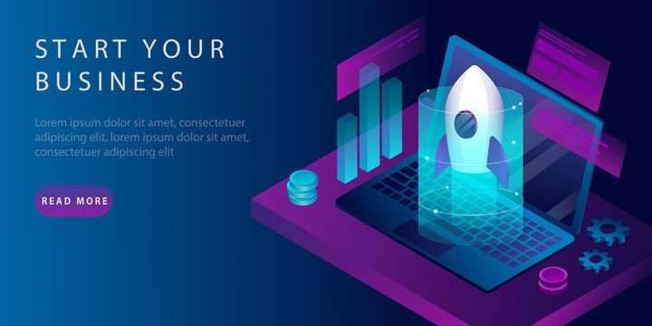 Isometric Startup modern design concept with a rocket and a laptop. Landing Page Design. The concept of launching a new business or startup. vector illustration