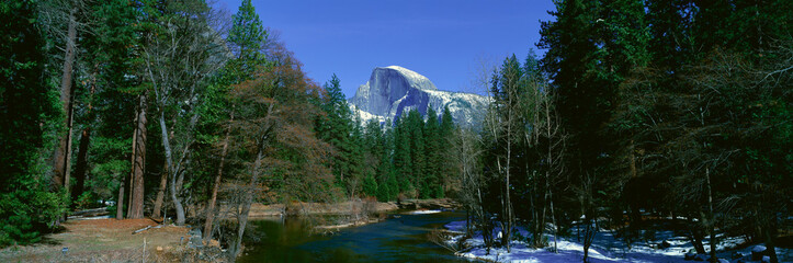 Half Dome and Merced River In Winter, Yosemite National Park, California