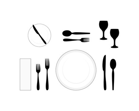 Table layout of a formal dinner setting, vector illustration