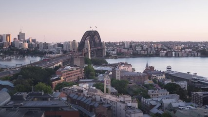 Fototapete - timelapse Aerial view of Sydney with Harbour Bridge, Australia