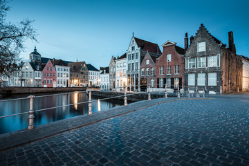 Canvas Prints Bridges Historic city of Brugge at night, Flanders, Belgium